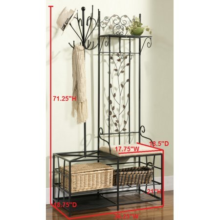 Beautiful Black Metal Entryway 12 Hook Coat & Hat Rack Hall Tree Stand Organizer Display With Storage Shelves, Bench & Umbrella Stand, Features a Cushion Seat Bench