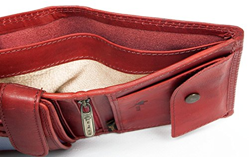 Pedro Wallet Dark Leather Genuine Red Made Strong Whole Natural Leather of qwXFIRX
