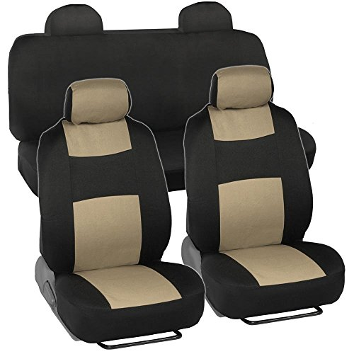 Full Set Black & Beige Tan Seat Covers for Car Auto SUV Polyester Cloth - Integrated Headrests Rear Bench