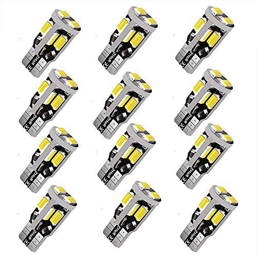 12V 12pcs T10 LED Bulb,194 LED Bulb, 168 LED Bulb, 2825 W5W LED Bulbs, Super Bright 6000K White 10SMD 5730 Chipset 250LM LED Bulb for Car Interior Dome Map Door Courtesy License Plate Lights