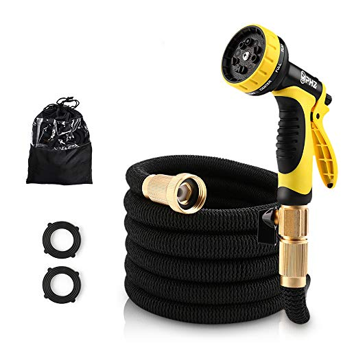 PHZ Garden Hose Lightweight Durable Expandable Water Hose Double Latex Core- 3/4″ Solid Brass Fittings, Extra Strength Fabric- Flexible Expanding Hose 10 Function Spray Nozzle (25ft)