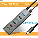 USB Type C Hub 3.0 Power Hub USB Splitter 6 USB Port with BC1.2 USB Fast Charging USB Charger Hub 24W for Ultrabook Laptop PC Phone (Grey)