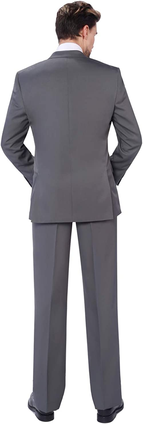 P/&L Mens 2-Piece Classic Fit Single Breasted 2 Buttons Blazer /& Trousers Suit