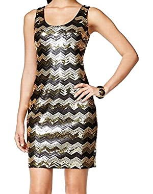 Guess Black Chevron-Print Sequin Women's Sheath Dress Gold 12