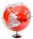 Extra Large Red & Silver Globe of the World 17''