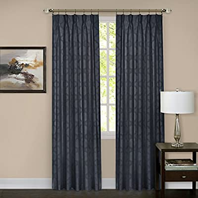 "Achim Home Furnishings Windsor Pinch Pleat Pane, 34 by 63"", Navy - Economically priced, easy care, easy installation Room Darkening Energy Efficient - living-room-soft-furnishings, living-room, draperies-curtains-shades - 51MsnQDSf6L. SS400  -"