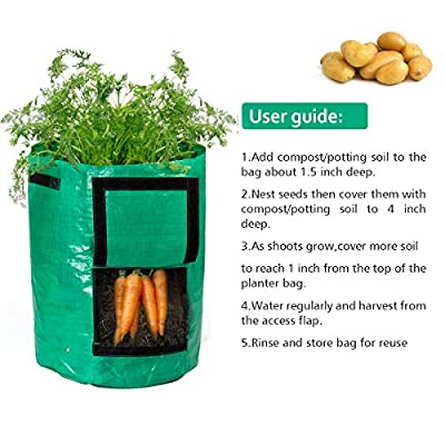 Todoing Garden Potato Grow Bag, 4Pack10Gallon Grow Bags with Access Flap and Handles for Harvesting Potato, Carrot, Onion, tomata, Vegetable and Flower. : Garden & Outdoor