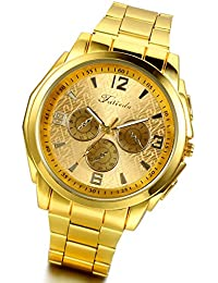 Luxury Mens Golden Tone Stainless Steel Wrist Watches for Birthday with Gift Bag