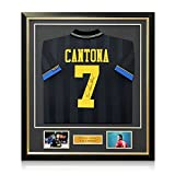 Eric Cantona Signed Manchester United 1994 Black Away Soccer Jersey. In Deluxe Black Frame With Gold Inlay