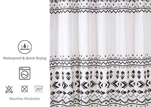 Uphome Fabric Shower Curtain Black and White Geometric Pattern Cloth Shower Curtain Set with Hooks Chic Boho Bathroom Decor,Heavy Duty Waterproof, 72x72 - [Uphome Design] -This polyester shower curtains made of 100% fabric adds extra rust-resistant metal grommets and 12 high-quality plastic hooks Without the ROD, features with geometric pattern, which can blend with any existing home decor. [Function] Waterproof and heavy-duty, can be used as shower curtain alone, when you take shower the curtain which can prevent it from fluttering, splashing. [Care Instructions] Machine washable in cold water with mild detergent and hang to dry. It could be better cleaned with a quick rinse or wipe after a shower, Low iron; Don't bleach or tumble dry. The Color will stay nice and vibrant for years. - shower-curtains, bathroom-linens, bathroom - 51MsnuhJh1L -