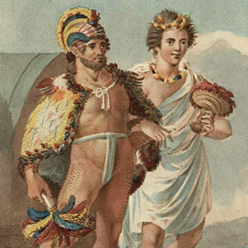Sandwich Island Hawaii natives feathers 1836 beautiful ethnic costume print -