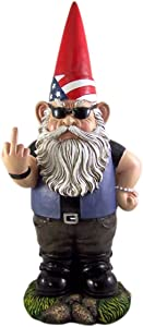 Wowser Large Patriotic Rebel Biker Garden Gnome Statue, 18 Inches