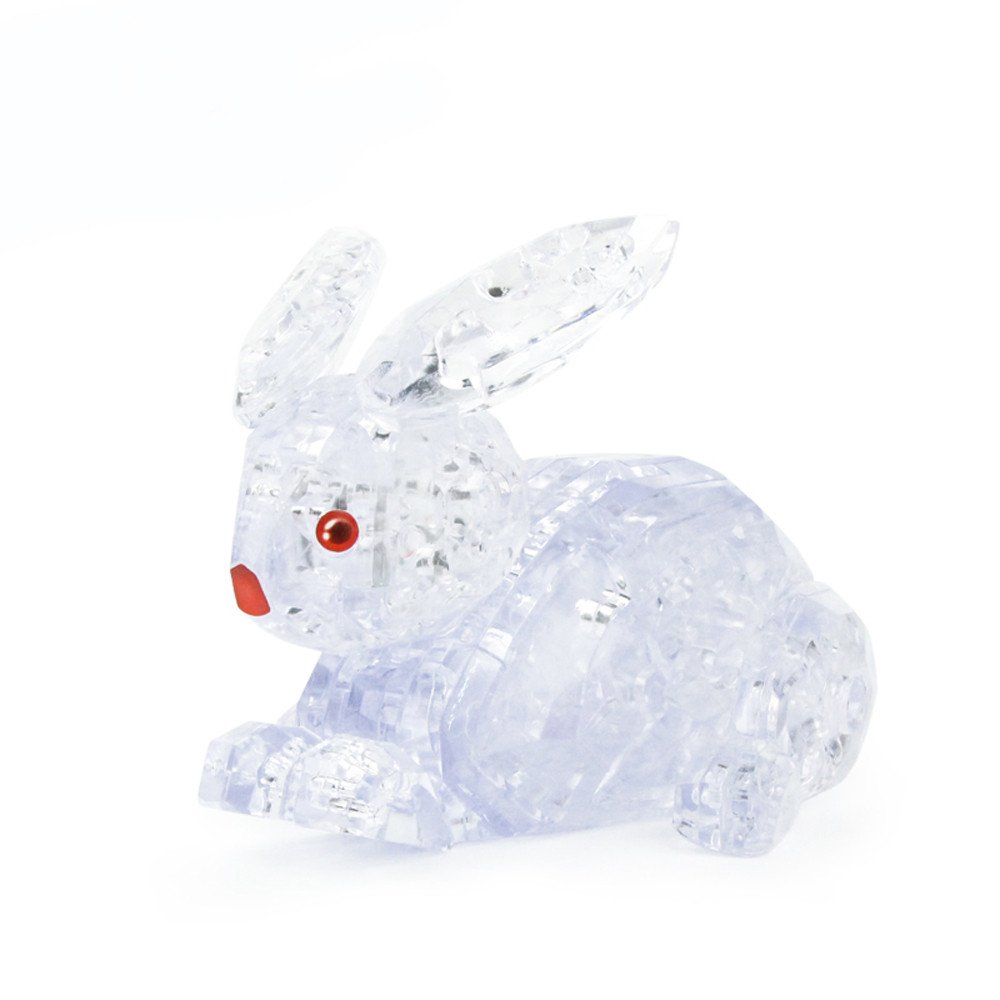 Ghazzi DIY 3D Crystal Cute Rabbit Model Blocks Building Toy Gift Developmental Intelligence Toy for Kids Puzzle Educational Learning Toy Growing Experiment Gift Toy Pretend Toy Toddlers Toy (White)