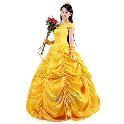 [Angelaicos Womens Cosplay Costume Dress Gloves (M, Dress)] (Beauty And The Beast Costume Belle)