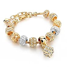 Capital Charms - Lucky Charms - Gold Fashion Charm Bracelet for Girls and Women with Charms and Bonus Gift Box