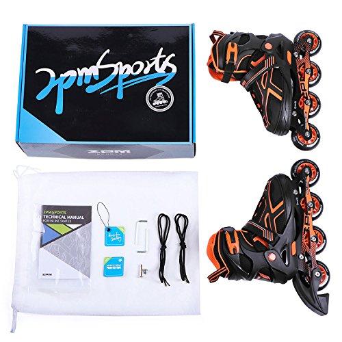 2PM SPORTS Torinx Orange Black Boys Adjustable Inline Skates, Fun Skates for Kids, Beginner Roller Skates for Girls, Men and Ladies - Medium (US 2-5) by 2PM SPORTS (Image #5)