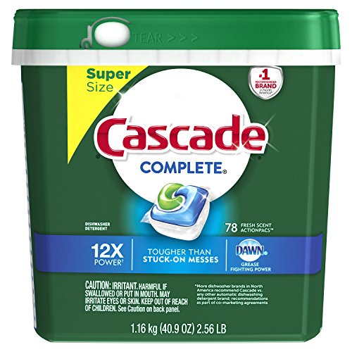 Cascade Complete ActionPacs Dishwasher Detergent, Fresh Scent, 78 Count (Action Tabs)