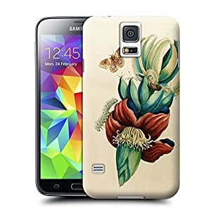Unique Phone Case Red And Teal Green Flower Banana Print Hard Cover for samsung galaxy s5 cases-buythecase