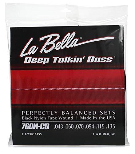 La Bella 760N Black Nylon Tapewound Bass Strings - Standard 6-string ()