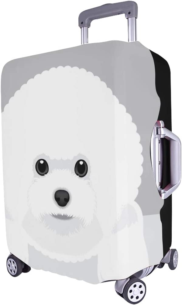Portrait Bichon Frise Puppy Spandex Trolley Case Travel Luggage Protector Suitcase Cover 28.5 X 20.5 Inch