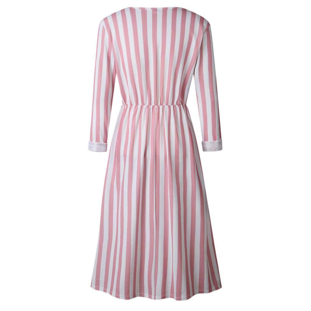 ❤ Vestidos Largos Mujer,Modaworld Vestido Largo a Rayas con Cuello en V Manga Larga Casual para Mujer Vestido de Fiesta Mujer Playa Elegante Vestido ...