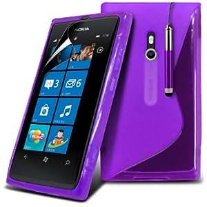(Violeta) Nokia Lumia 800 Protección onda S Línea Gel piel cubierta retráctil Capacative Pantalla Táctil Lápiz Óptico & Paquete de 10 Pantalla LCD Protector de Spyrox