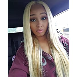 Full Lace Wigs Human Hair Wigs 613 Blonde Wigs 130% Density Silky Straight With Baby Hair 100% Brazilian Human Remy Hair (10 Inch, Full Lace Wig)