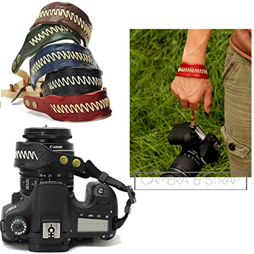 Nicad Camera Leather Wrist Strap Comfort Padding, Enhanced Hand Grip Stability and Security for All DSLR Cameras Canon Nikon Pentax Olympus Fujifilm X100F X-T20 X-T2 X70 X-Pro2,Sony A6000 A630(Black)
