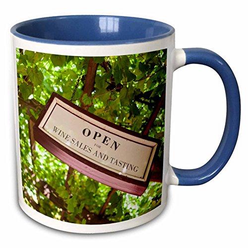 3dRose Danita Delimont - Australia - Australia, Barossa Valley, Angaston, wine tasting room sign - 15oz Two-Tone Blue Mug (mug_226315_11)