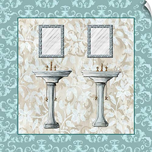 """CANVAS ON DEMAND Mirror and Sinks with Blue Tile Border Wall Peel Art Print, 20""""x20"""""""