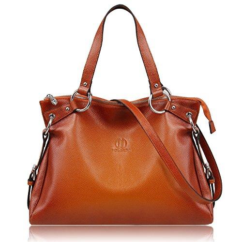 - YOLANDO RING Tote Bag-Full Grain Leather-Back Zipper Pocket-Brown