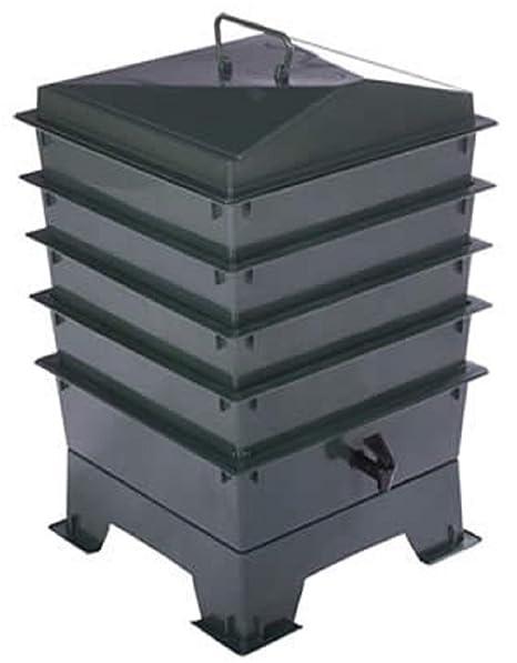 Cajones de lombricultura estándar con lombrices rojas - 4 bandejas, compostera y contenedor de compost