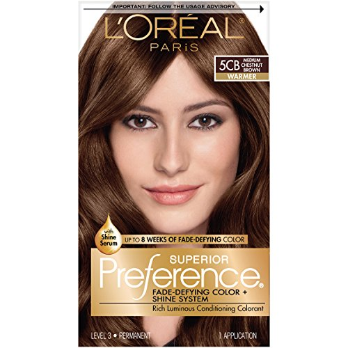 L'Oréal Paris Superior Preference Fade-Defying + Shine Permanent Hair Color, 5CB Medium Chestnut Brown, 1 kit Hair Dye
