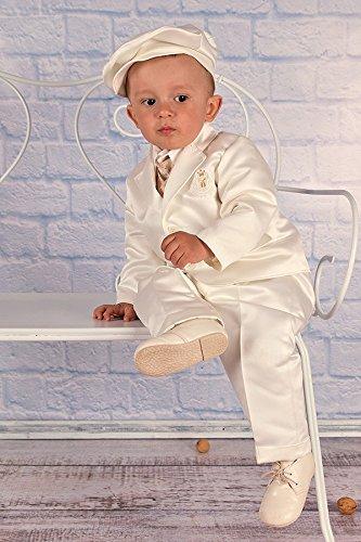 LULINA Abito da Battesimo Elegante, Vestito da Cerimonia Color Panna Raso. 4