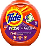 Health & Personal Care : Tide PODS 3 in 1 HE Turbo Laundry Detergent Pacs, Spring Meadow Scent, 81 Count Tub - Packaging May Vary