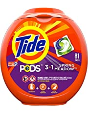 Tide PODS 3 in 1 HE Turbo Laundry Detergent Pacs, Spring Meadow Scent, 81 Count per pack, Packaging May Vary