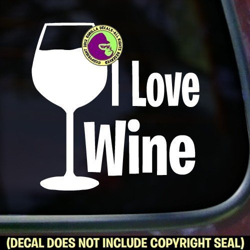 I LOVE WINE Vinyl Decal Sticker A ()