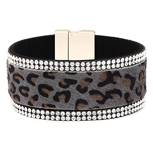 DENTRUN Bohemia Style Leopard Print Leather Cuff Bracelet,Fashion Fine Horse Hair Bracelets with Magnetic Clasp for Women Girls ()