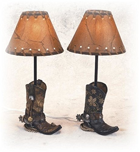 PS 14.5 Inch Brown Cowboy Boots Shaped Lamp Stencil Shade Set of 2