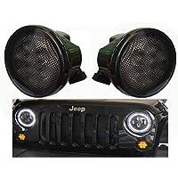 2 pcs Led Amber Turn Signal Lights for 2007~2017 Jeep Wrangler JK JKU Turn Lamp grill lights Side Maker Parking Lights Smoke Lens