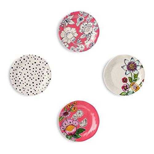Vera Bradley Floral Melamine Tidbit Plates, Coral Floral, Set of 4