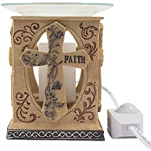 Decorative Stone Look Holy Cross Electric Oil Warmer or Tart Burner with Love, Hope & Faith Inscribed in Spiritual, Religious & Christian Decor Sculptures for Aromatherapy Essential Scented Oils or Easter Decorations As Inspirational Gifts