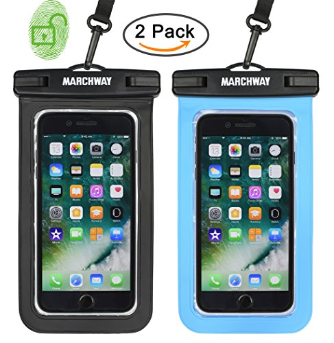 Universal Waterproof Case 2 Pack, MARCHWAY Cellphone Dry Bag Pouch with Touch Screen for Apple iPhone X/8/8 Plus/7/7 Plus/6S/6S Plus, Samsung Galaxy S8/S7, Any Phone Up to 7 Inch