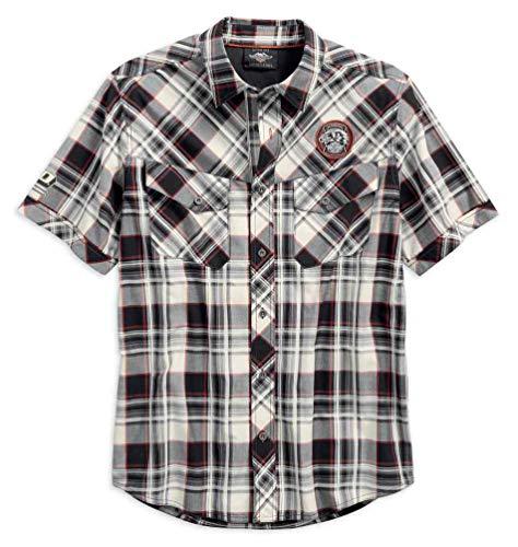 (Harley-Davidson Men's Performance Vented Plaid Woven Shirt 96548-19VM (XL) White)