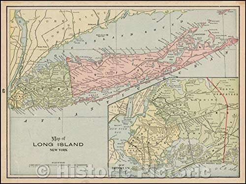 Historic Map | Map of Long Island New York (Inset Map of Brooklyn and Vicinty), 1892, George F. Cram | Vintage Wall Art 24in x 18in Cram 1892 Antique Map