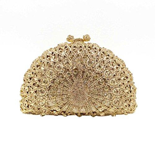 Clutch Soirée Sac NBWE Paon Gold Embrayages Glitter Femmes à Banquet Diamonds Purse main Soirée Sac Cristal wx0pxvY4