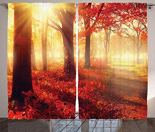 Ambesonne Woodland Curtains, Sun Beams Through Misty Old Forest in Fall Season Morning View Dreamy Picture, Living Room Bedroom Window Drapes 2 Panel Set, 108 X 84 , Yellow Red