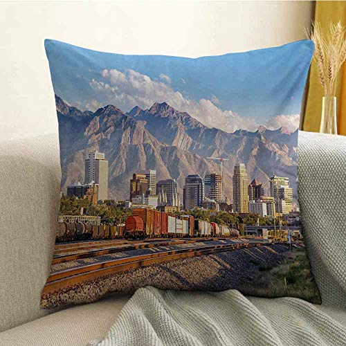 Landscape Microfiber Downtown Salt Lake City Skyline in Utah USA Railroads Mountains Buildings Urban Sofa Cushion Cover Bedroom car Decoration W16 x L16 Inch -