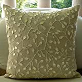 "Designer Ecru Shams, Mother Of Pearls Floral Pillow Sham, 24""x24"" Pillow Sham, Square Cotton Linen Shams, - Vintage Garden"