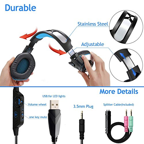 PS4 Gaming Headset with Mic, Beexcellent Newest Deep Bass Stereo Sound Over Ear Headphone with Noise Isolation LED Light for PC Laptop Tablet Mac (Blue) 6